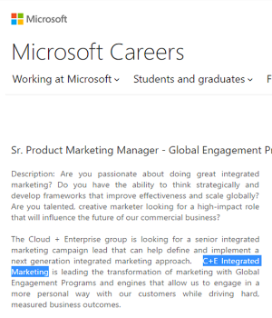 Screenshot of Senior Marketing Manager Job @Microsoft