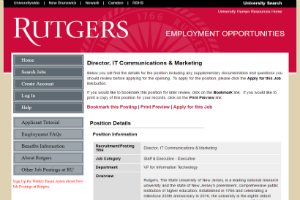 Screenshot of Example Director of Marketing Position @ Rutgers University