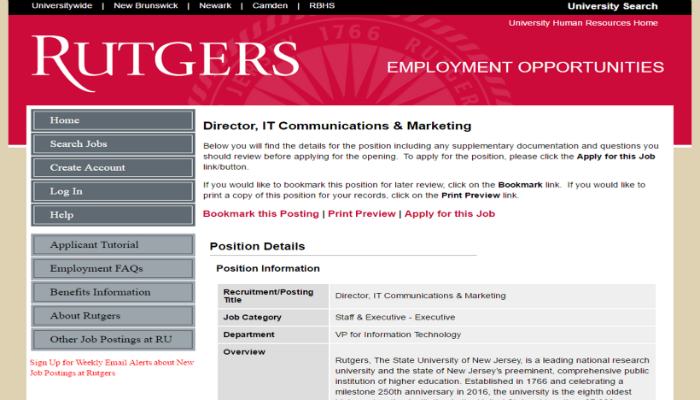 Example Job Desription for Director of IT Communications & Marketing @RutgersU