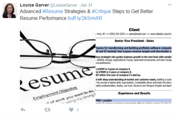 Tweet by Louise Garver @ CareerDirectionsLLC