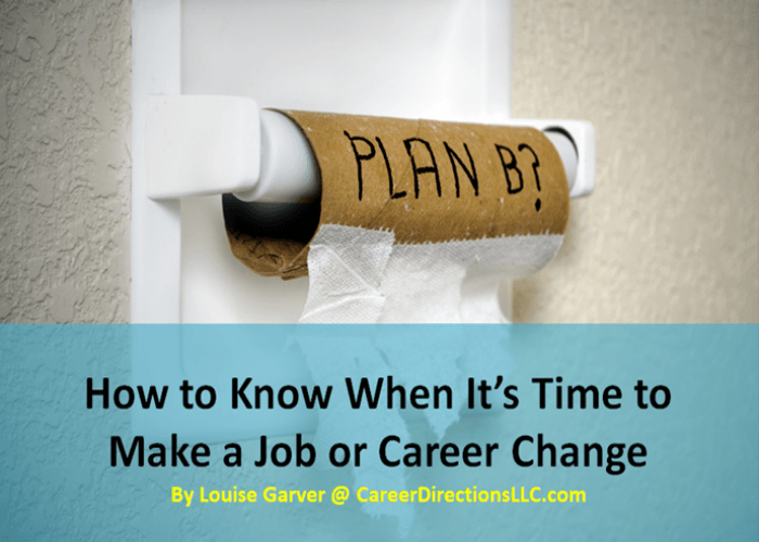 how to know when its time to make a job or career change